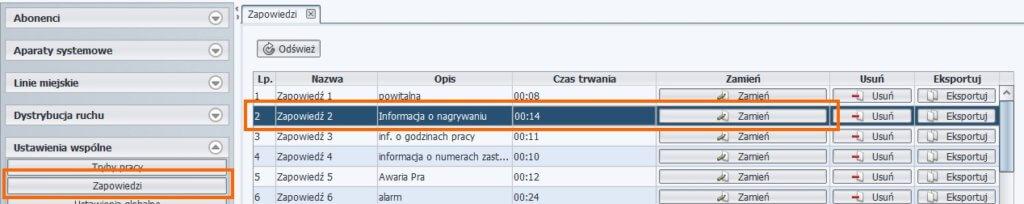 Wgrywanie plików zapowiedzi – ProximaWeb/LibraWeb