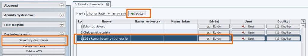 Tworzenie schematu dzwonienia – ProximaWeb/LibraWeb