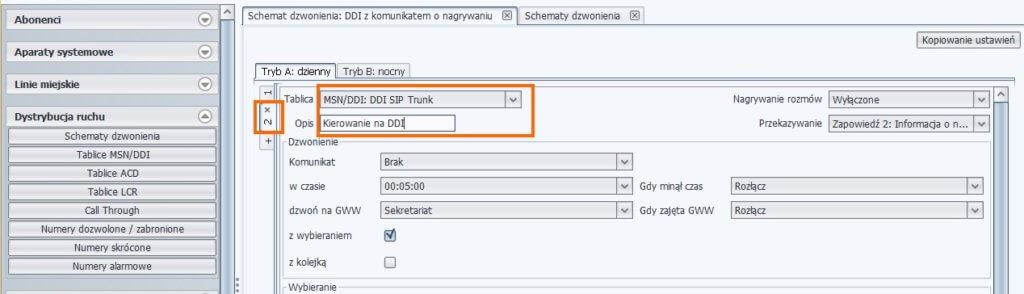 Poziom 2: Kierowanie ruchu na tablicę numerów MSN/DDI – ProximaWeb/LibraWeb
