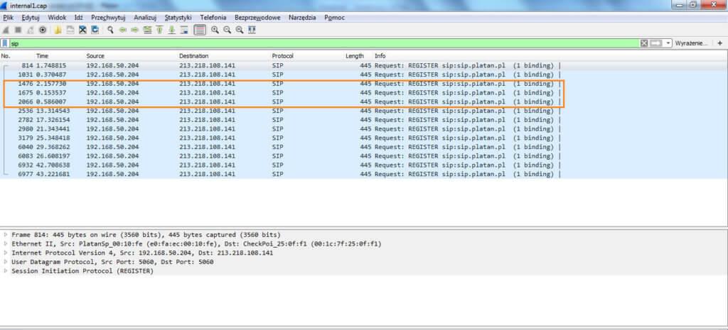 Brak rejestracji VoIP - zrzut ekranu wykonany przy pomocy oprogramowania Wireshark. Widać, że ramki rejestracyjne są wysyłane przez serwer telekomunikacyjny do operatora VoIP.