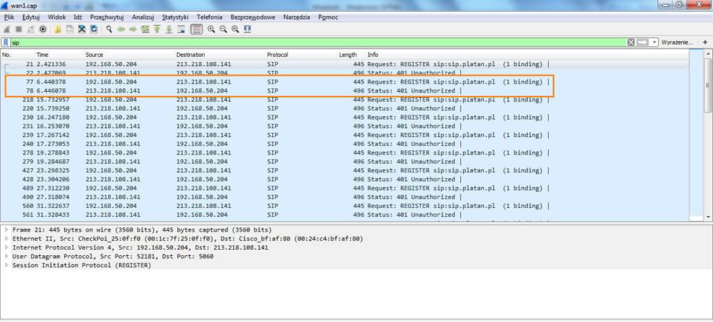 Brak rejestracji VoIP - zrzut ekranu wykonany przy pomocy oprogramowania Wireshark. Widać, że po wysyłce ramek rejestracyjnych do operatora VoIP przez serwer telekomunikacyjny przychodzi odpowiedź z żądaniem autoryzacji (401 Unauthorized).