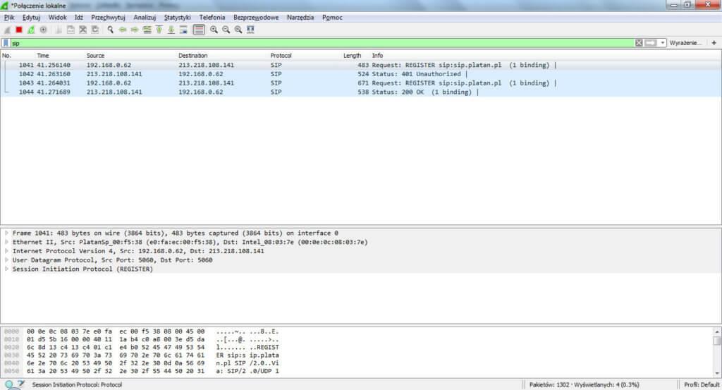 Przykładowy log w programie Wireshark, jeśli konto VoIP jest poprawnie zarejestrowane.