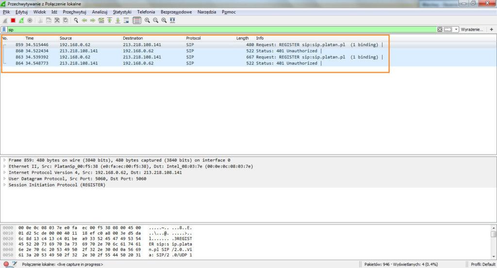 Przykładowy log w programie Wireshark, jeśli konto VoIP nie jest zarejestrowane z powodu wprowadzenia błędnego loginu lub hasła.