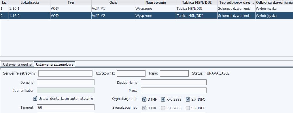 Rys. 9. Konto VoIP bez wpisanych danych do rejestracji.