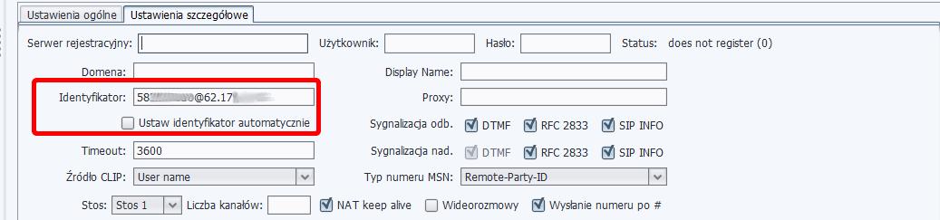Rys. 12. Jak skonfigurować SIP trunk, jeśli otrzymaliśmy adres IP serwera operatora i nazwę użytkownika (UPC – konto bez rejestracji).