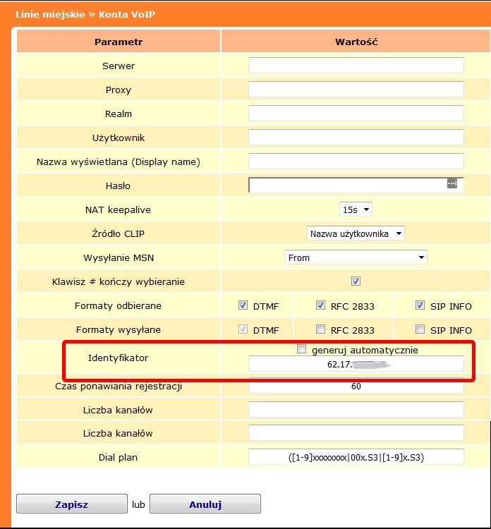 Rys. 11. Jak skonfigurować SIP trunk bez rejestracji w centralach IP Prima nano i IP Prima, jeśli otrzymaliśmy tylko adres IP serwera operatora (UPC).