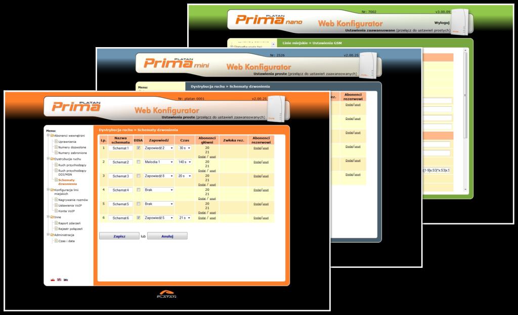 Centrala Prima – trzy kolory interfejsu Prima Web Konfigurator
