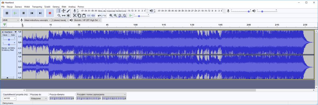 Konwersja pliku audio w Audacity – otwieranie źródłowego pliku dźwiękowego zapisanego w formacie mp3, stereo.