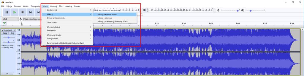 Konwersja pliku audio w Audacity – zamiana sygnału stereo na mono.