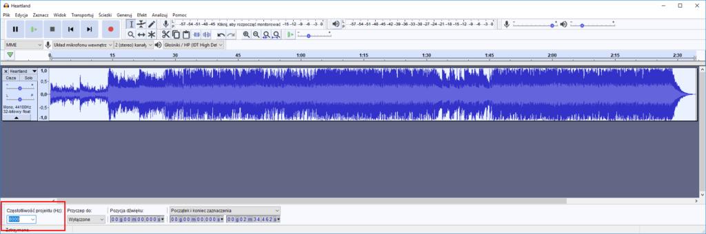 Konwersja pliku audio w Audacity – zmiana częstotliwości na 8 kHz.