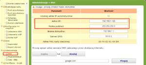 Fot. 4. Zmiana adresu IP w centrali Prima nano.