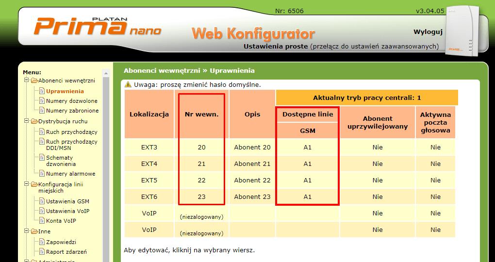 Fot. 8. Domyślne numery wewnętrzne oraz dostępna linia GSM ze slotu A w centrali Prima nano.