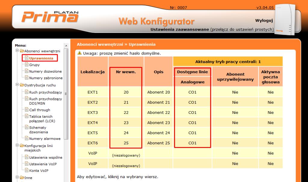 Fot. 7. Domyślne numery abonentów oraz dostępna analogowa linia miejska w centrali Prima.