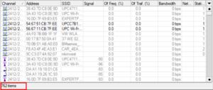 Przykład liczby urządzeń wi-fi w paśmie 2,4 GHz